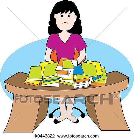 Clip Art - donna, a, disordinato, scrivania k0443822 - Cerca Clipart ...