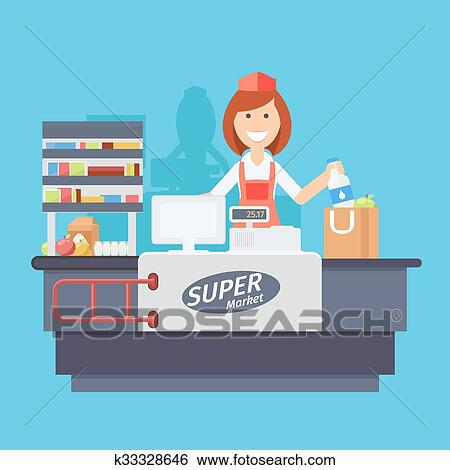 Clip Art of Cashier k33328646 - Search Clipart ...