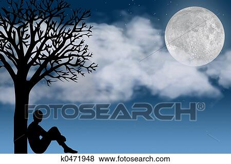 树, 看, 月亮