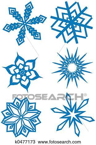 Dessin simple flocons neige ensemble k0477173 recherchez des cliparts des illustrations - Dessin flocon de neige simple ...