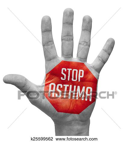 Clip Art of Stop Asthma on Open Hand. k25599562 - Search Clipart ...