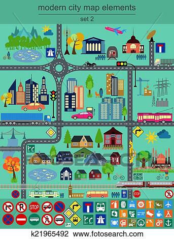 clipart of modern city map elements k21965492 search