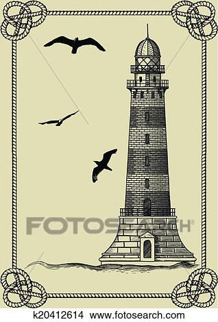 Old Lighthouse Standing Waves In The Frame Of Rope On A Beige Background