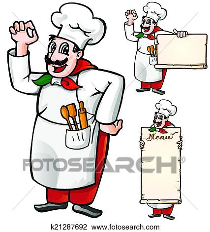 clipart of italian chef set isolated k21287692 search clip art rh fotosearch com