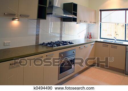 스톡포토 - 새로운 가정, 부엌 k0494490 - 스톡 포토, 그림, 벽화 ...