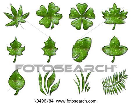树叶镂空简笔画-图画 绿色, 叶子 k0496784 搜寻 Clip Art Illustrations k0496784.jpg