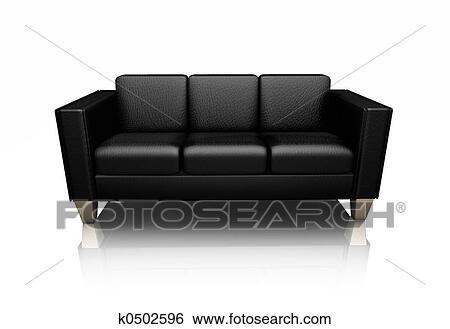 banque dillustrations cuir noir canap233 k0502596