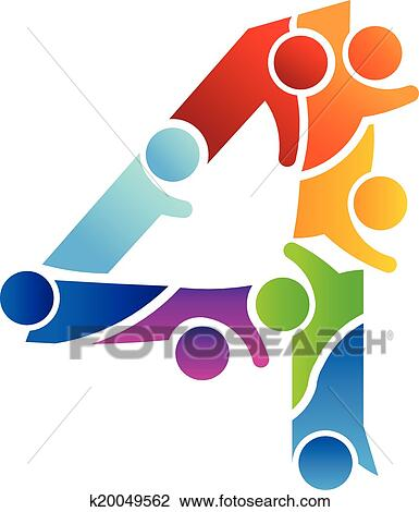 clipart of number 4 teamwork image logo k20049562 search clip art rh fotosearch com teamwork clip art black and white teamwork clip art pictures
