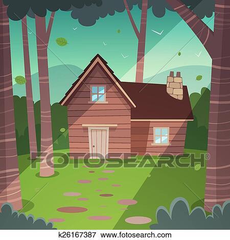 Clip art   cabaña, en, bosque k26167387   buscar clip art ...