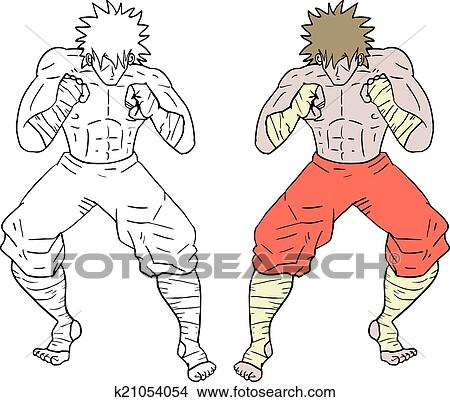 Clipart Of Color Boxing Man K21054054 Search Clip Art