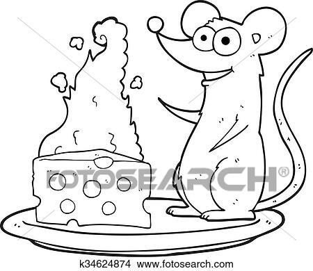 Käse clipart schwarz weiß  Clipart - schwarz weiß, karikatur, maus, mit, käse k34624874 ...
