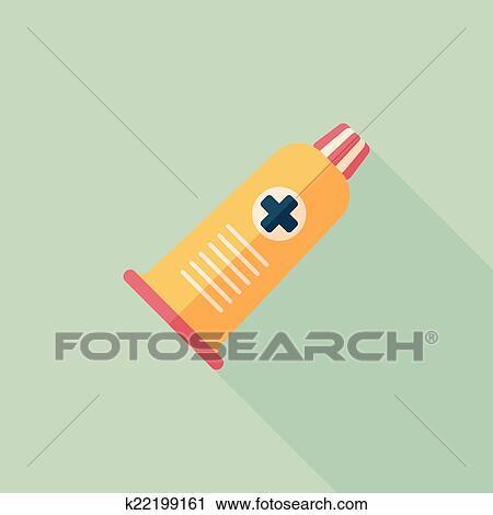 clipart - rohr, flache, symbol, mit, langer, schatten k22199161