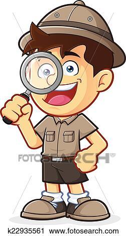 矢量, clipart, 图画, 在中, a, 男孩侦察, 或者, 探险家, 男孩, 卡通图片