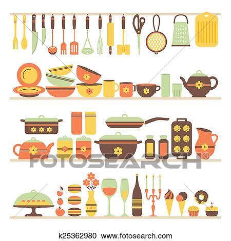 클립 일러스트 - 세트, 의, 부엌 기구, 와..., 음식. k25362980 - 클립 ...