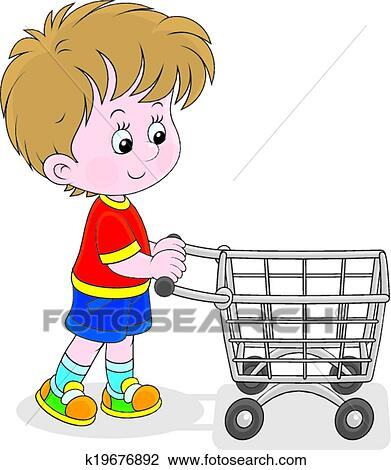 clipart of boy with a shopping trolley k19676892 search