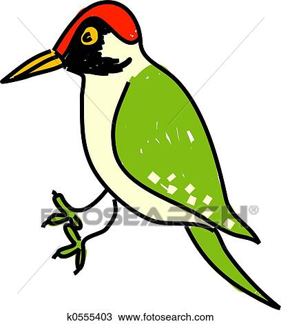 drawing of green woodpecker k0555403 search clipart illustration rh fotosearch com woodpecker clip art free cartoon woodpecker clipart