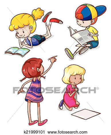 clipart simple sketches of kids reading and writing fotosearch search clip art
