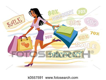 clipart of shopping girl k0557591 search clip art illustration rh fotosearch com clipart shopping cart clipart shopping