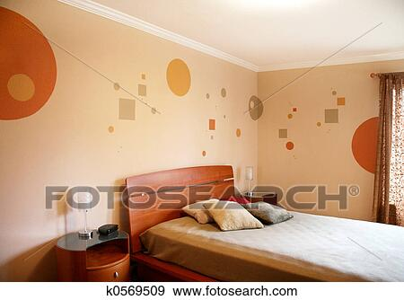 Stockfotografi   konstruktion, ind, moderne, soveværelse k0569509 ...