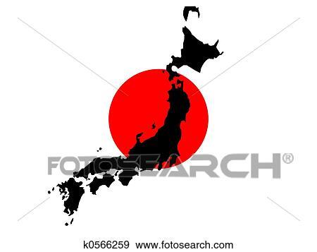 Stock Illustration Of Map Of Japan And Japanese Flag K - Japanese flag