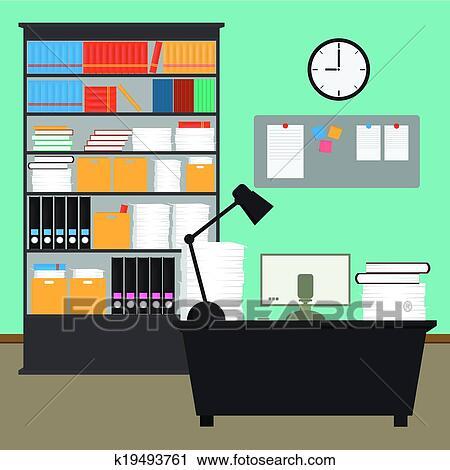 Clipart of Vector Office room.interior,books,desk,clock,computer ...