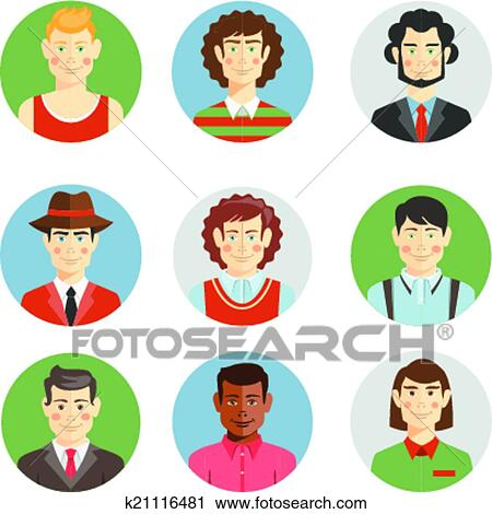 clipart of boys and men faces icons in flat style k21116481 - search