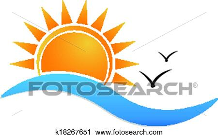 Clipart Of Sunset Beach Logo K18267651