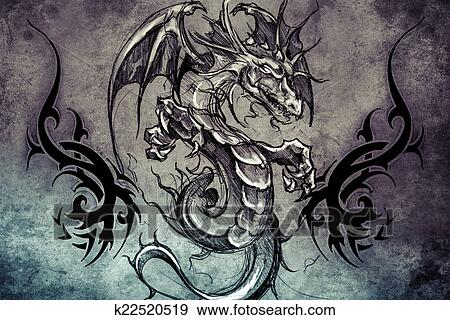 Stock photograph of medieval dragon tattoo design over for Medieval dragon tattoo