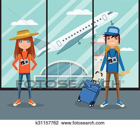 在中的人们, 机场, terminal., 矢量, 套间, 卡通漫画, 描述图片