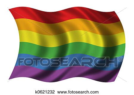 Gay Pride flag waving in the wind - clipping path included - stock photo.