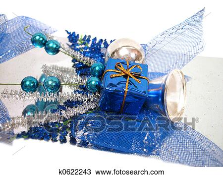 Stock foto blau weihnachtsdeko kasten mit handbell - Weihnachtsdeko blau ...
