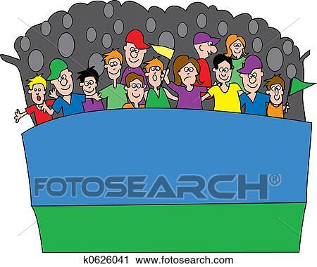 clipart of sports fans k0626041 search clip art illustration rh fotosearch com Clip Art Group of People Clip Art Group of People