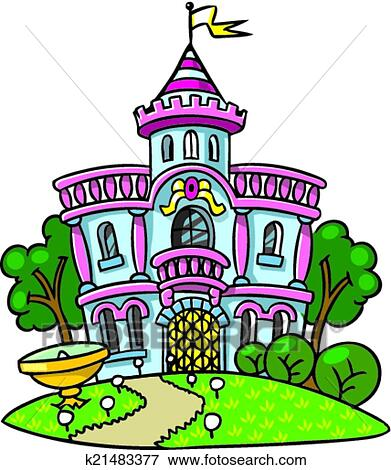 clip art of fairy palace in the beautiful park k21483377 search rh fotosearch com clip art parking lot striping clip art parking