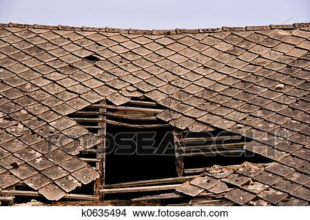 Stock Photo Of Damaged Roof K0635494 Search Stock Images