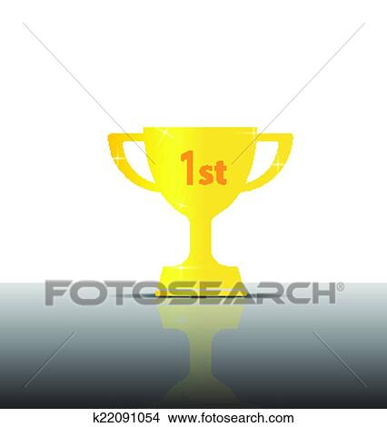 Clipart Of 1st Golden Champions Cup Vector Illustration K22091054