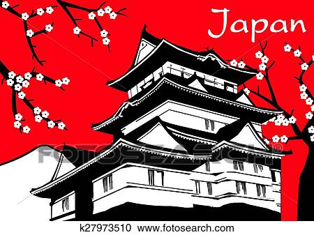 Clipart Of Japanese Pagoda Sakura Flower Paint K27973510