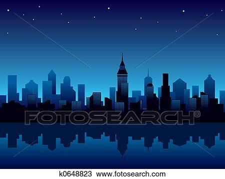 Dessin ville nuit k0648823 recherchez des cliparts des illustrations et des images for Dessin ville orientale