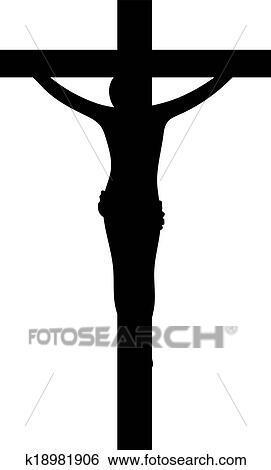 clip art of jesus christ on cross silhouette k18981906