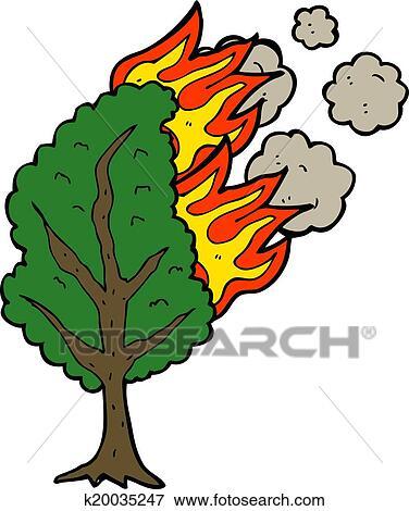 剪贴画 - 卡通漫画, 燃烧树图片