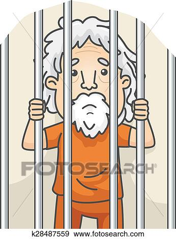 Clip Art of Senior Man Jail k28487559 - Search Clipart ...