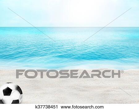 Clipart Of Beautiful Beach Football Soccer Ball 3D Sand Water