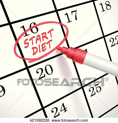 clip art of start diet words circle marked on a calendar k21592226 rh fotosearch com star clip art black and white star clip art borders