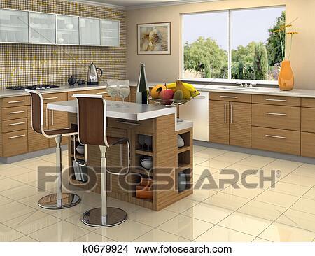 Stockfoto   træ, og, rustfrit stål, køkken k0679924   søg i ...
