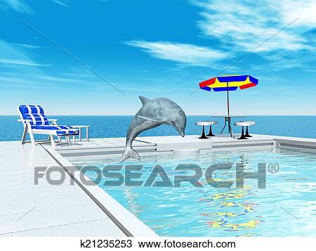 手绘图 - 游泳池