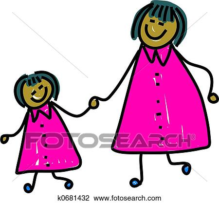 Clip Art - mother and daughter. Fotosearch - Search Clipart ...