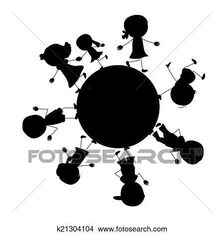Kinderkreis clipart  Clipart - einfache, gehende, silhouetten, kinder, kreis k21304104 ...