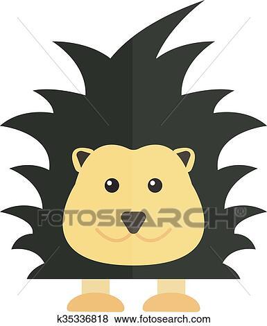Clip Art of Cute cartoon porcupine australia wildlife echidna ...