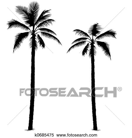 stock illustration of palm tree silhouette 1 k0685475 search rh fotosearch com palm tree leaf vector silhouette palm tree silhouette vector art free