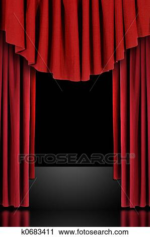 Stock Photography   Red Theatre Stage Draped Curtains. Fotosearch   Search  Stock Photos, Pictures