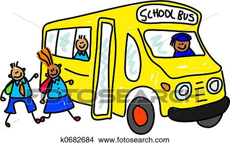drawings of school bus k0682684 search clip art illustrations rh fotosearch com Cartoon School Bus Clip Art Magic School Bus Clip Art